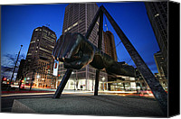 Detroit Tigers Art Canvas Prints - Joe Louis Fist Statue Jefferson and Woodward Ave. Detroit Michigan Canvas Print by Gordon Dean II