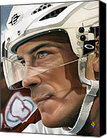Hockey Painting Canvas Prints - Joe Sakic Canvas Print by Rich Marks