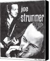 London Drawings Canvas Prints - Joe Strummer Canvas Print by Jason Kasper