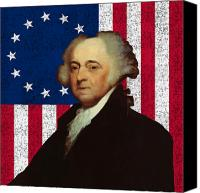 Flag Digital Art Canvas Prints - John Adams and The American Flag Canvas Print by War Is Hell Store