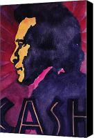 Country Music Canvas Prints - John Cash 3 Canvas Print by Chuck Creasy