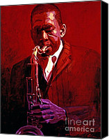 Featured Painting Canvas Prints - John Coltrane Canvas Print by David Lloyd Glover