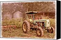 John Deere Tractor Canvas Prints - John Deere Antique Canvas Print by Debra and Dave Vanderlaan