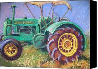 Farming Pastels Canvas Prints - John Deere Canvas Print by Barbara Richert