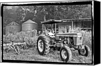 John Deere Tractor Canvas Prints - John Deere in Black and White Canvas Print by Debra and Dave Vanderlaan