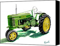 John Deere Tractor Canvas Prints - John Deere Tractor Canvas Print by Ferrel Cordle