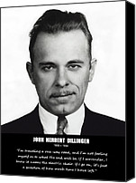 1930s Canvas Prints - JOHN DILLINGER -- Public Enemy No. 1 Canvas Print by Daniel Hagerman