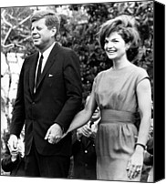 First Couple Canvas Prints - John F. Kennedy And Jacqueline Kennedy Canvas Print by Everett