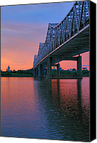 River Transportation Canvas Prints - John F. Kennedy Bridge At Sunrise Canvas Print by Steven Ainsworth