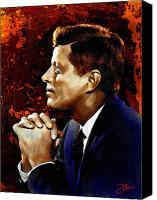 4th July Digital Art Canvas Prints - John F. Kennedy Canvas Print by Dancin Artworks
