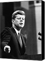 Politician Canvas Prints - John F. Kennedy, Urges The Senate Canvas Print by Everett