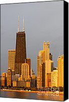Skyline Canvas Prints - John Hancock Center Chicago Canvas Print by Adam Romanowicz