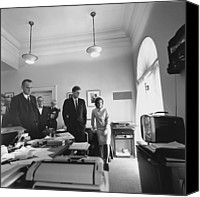 First Ladies Canvas Prints - John Kennedy And Others Watching Canvas Print by Everett