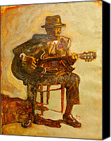 Mike Painting Canvas Prints - John Lee Hooker Canvas Print by Michael Facey