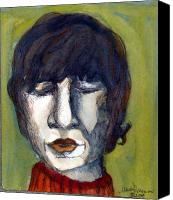 Jesus Drawings Canvas Prints - John Lennon as an Elf Canvas Print by Mindy Newman