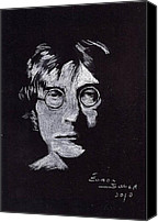 Beatles Pastels Canvas Prints - John Lennon Canvas Print by Eamon Gilbert