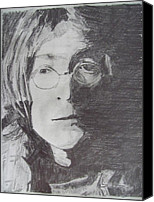 Photography Drawings Canvas Prints - John Lennon Pencil Canvas Print by Jimi Bush