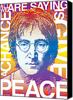 Mccartney Canvas Prints - John Lennon Pop Art Canvas Print by Jim Zahniser