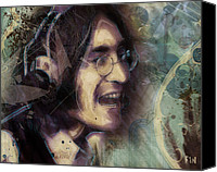 Featured Digital Art Canvas Prints - John Lennon Tribute- Dont Let Me Down Canvas Print by David Finley