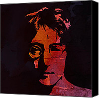 Liverpool England Canvas Prints - John Lennon Watercolor Canvas Print by Stefan Kuhn