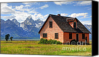 Grand Home Canvas Prints - John Moulton Home - Grand Teton National Park Canvas Print by Gary Whitton