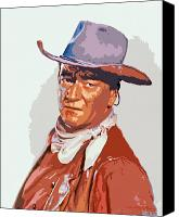 Movies Canvas Prints - John Wayne - THE DUKE Canvas Print by David Lloyd Glover