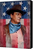 Cowboy Mixed Media Canvas Prints - John Wayne Americas Cowboy Canvas Print by John Guthrie