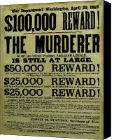 John Canvas Prints - John Wilkes Booth Wanted Poster Canvas Print by War Is Hell Store