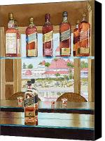 Bottles Canvas Prints - Johnnie Walker and Del Canvas Print by Mary Helmreich