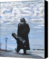 Black Drawings Canvas Prints - Johnny Cash - Going to Jackson Canvas Print by Eric Dee