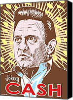 Johnny Cash Canvas Prints - Johnny Cash Pop Art Canvas Print by Jim Zahniser