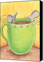 Tea Canvas Prints - Join Me in a Cup of Coffee Canvas Print by Christy Beckwith