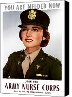 Americana Digital Art Canvas Prints - Join The Army Nurse Corps Canvas Print by War Is Hell Store