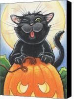 Holiday Drawings Canvas Prints - Jolly Ollie Halloween Canvas Print by Amy S Turner