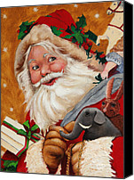 Christmas Canvas Prints - Jolly Santa Canvas Print by Enzie Shahmiri