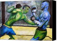 Ultimate Fighting Championship Mixed Media Canvas Prints - Jon Coppenhaver vs. Jared Rollins Canvas Print by Michael Cook