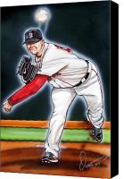 Jon Lester Canvas Prints - Jon Lester Canvas Print by Dave Olsen