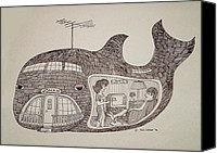 Jonah Canvas Prints - Jonah in his whale home. Canvas Print by Fred Jinkins