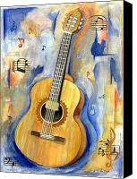 Guitar Painting Canvas Prints - Jonathan Canvas Print by Cheryl Pass