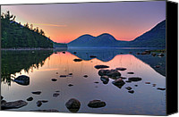Mountain Scenes Canvas Prints - Jordan Pond at Sunset Canvas Print by Thomas Schoeller