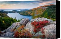 Foliage Canvas Prints - Jordan Pond Sunrise  Canvas Print by Susan Cole Kelly