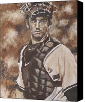 Puerto Rico Drawings Canvas Prints - Jorge Posada New York Yankees Canvas Print by Eric Dee