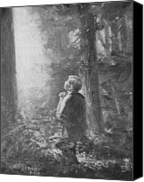 Christian Sacred Canvas Prints - Joseph Smith Praying in the Grove Canvas Print by Lewis A Ramsey