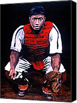 Josh Gibson Canvas Prints - Josh Gibson - Catcher Canvas Print by Ralph LeCompte