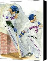 All-star Painting Canvas Prints - Josh Hamilton The Ball Player Canvas Print by George  Brooks