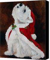 Westie Canvas Prints - Joy to the World Canvas Print by Mary Sparrow Smith