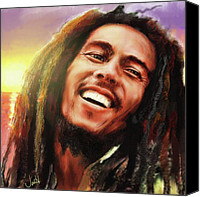 Little Birds Canvas Prints - Joyful Marley  Bob Marley Portrait Canvas Print by Jennifer Hickey