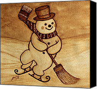 Skates Canvas Prints - Joyful Snowman  coffee paintings Canvas Print by Georgeta  Blanaru