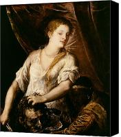 Decapitation Canvas Prints - Judith with the Head of Holofernes Canvas Print by Tiziano Vecellio Titian