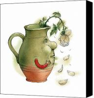 Flowers Drawings Canvas Prints - Jug and Rose Canvas Print by Kestutis Kasparavicius